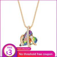 Pendant Necklaces RIEEN 2021 Aurora Love Necklace Design Fashion Electroplating Gold Inlaid Dazzling Crystal Heart Female