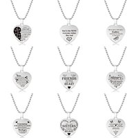 Pendant Necklaces 2021 Stainless Steel For Women Lettering Heart Beads Chain Necklace Christmas Gift Simple Jewelry
