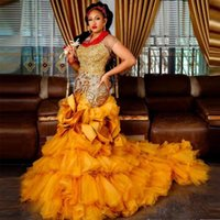 Gold Mermaid Aso Ebi Evening Dresses O Neck Short Sleeve Tulle Ruffles Tiered Special Occasion Gown Sequin Appliques Prom Gowns
