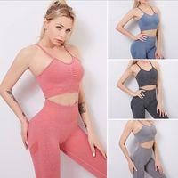 1 2 PCS Gym Set Seamless Women Yoga Workout Fitness Clothing Push Up Leggings Crop Top Bra Sport Wear Suits Running Tracksuit