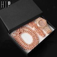 Chains Silver Color Necklace +Watch+Bracelet Hip Hop Miami Curb Cuban Chain Full Iced Out Paved Rhinestones CZ Bling For Men Jewelry