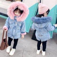 Jackets Winter Autumn Girls Baby Coats Fur Collar Plus Velvet Thick Denim Children Outerwear Kids Clothes HPY040