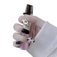 False Nails Wholesale Fake Cow Pattern Short Wear-Resistant Nail Stickers Finished 24 With Glue M3