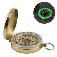 Luminous Brass Pocket Compass Party Favor Sports Camping Hiking Portable Brasss Pockets Fluorescence Compasss Navigation Campings Tools