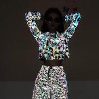 Sudaderas con capucha para mujer Sudaderas y otoño Dibujos animados delgados de seta color reflectante suéter atractivo ombligo de ombligo con capucha de manga larga