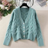 Autumn Fashion Women Sweater Cardigans V Neck Knit Outwear Long Sleeve Beading Cardigan Femme Single-breasted Sweaters Top Mujer