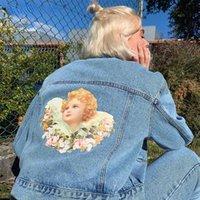 Women's Jackets Chic Street Girls Angel Denim Jacket Women Harajuku Casual Washed Blue Jeans Woman Vintage Y2k Coat Tops