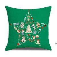 Christmas Pillow Case Santa Claus Branches Garland Red Car Throw Pillowcase Farmhouse Cushion Cover Home Decor HWD10576