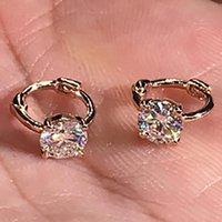 Hoop Huggie 14k Oro Rose Oro Mujeres Pendientes Moissanite Diamantes 0.5 1 2 3 Cilat Redondo Fiesta de boda Participación Aniversario Regalo regalo presente