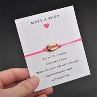 جديد الذهب cowrie شل سحر التفاف سوار مع جعل رغبة هدية بطاقة للنساء حساسة حبل سلسلة بسيطة البوهيمي الشاطئ مجوهرات 157 O2