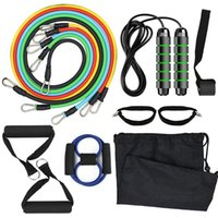 Resistance Bands 13pcs Set Workout Fitness Exercise Tube Jump Rope Door Anchor Ankle Straps Cushioned Handles For Home Gym
