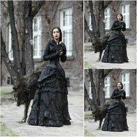 ازياء تاريخية النهضة فساتين الزفاف القوطية زائد حجم طويل الأكمام steampunk الدانتيل متابعة مشد الأعلى ارتداء فستان الزفاف