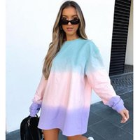 Women's Hoodies & Sweatshirts Women Autumn Style Pullover Sweatshirt Tie Dye Round Neck Long Sleeve Loose And Versatile Top Wn*