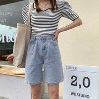Ailegogo весна лето высокая талия ретро синий джинсовые шорты уличные женские широкие ноги свободные кнопки женские джинсы 210607