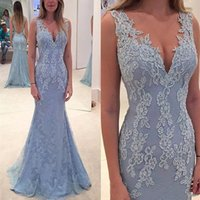 Light Blue Lace Mermaid Mother of the Bride Dresses Deep V Neck Sleeveless Open Backless Floor Length Wedding Party Evening Gowns Beaded Appliques