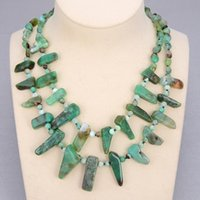 """GuaiGuai Jewelry Natural Stone 2 Strands Natural Green Chrysoprases Branch Statement Necklace 19"""" For Women"""