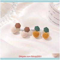 Jewelrydoreenbeads Fashion Acrylic Hexagonal Ball Pom Stud Earrings For Women Party Club Geometric Holiday Statement Jewelry Gifts Drop Deli