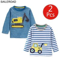 SEVERLOAD Digging Machine Kinder T-Shirt 2-teilige Katzen Baby Jungen Lange Münder Kinder Zurückhaltung Kleidung 7-jähriges 210429