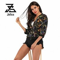 Jelics Summer Fashion Streetwear Casual Short Jacket Mujeres Tres cuartos de manga Imprimir Básico Slim Zipper Coat Ropa femenina 2019 M4re #