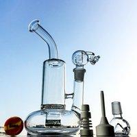 10 인치 명확한 유리 봉 토네이도 Perc 물 담뱃대 터빈 디스크 물 파이프 18mm 여성 관절 오일 Dab 굴곡 튜브 비커 그릇