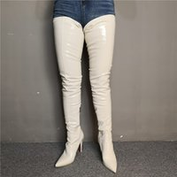 Handmade Womens High Heel Over Knee Boots Real Pictures Wedding Party Prom Thigh-High Booties Evening Club Fashion White Sexy Winter Shoes D547