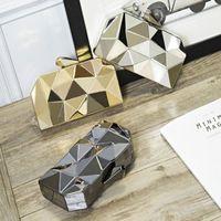 Mini Clutch Box Clutches Top Women Hexagon Bags Party Black Evening Metal Silver Fashion Gold Purse Quality Nsnnp