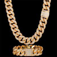 Pendant Necklaces Hig Zircon CZ Hip Hop Miami Cuban Link Chain 19mm Large Bracelet Men Necklace Drop Rapper Jewelry Wholesale
