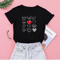 여성의 티셔츠 Seeyoushy 12 하트 인쇄 발렌타인 데이 여성 Tshirts 여성용 숙녀 캐주얼 O 넥 플러스 사이즈 의류 Ropa M