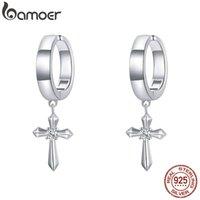 1pc Cross Earrings Clip 925 Sterling Silver Unisex Punk Style Jewelry Spring Clasp Ear Cuff for Women SCE1033 210512
