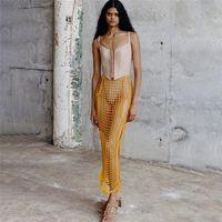 Été tricoté Femmes Plaid Femmes Long Maxi Jupes Sexy Creux Creux Sortie Basse Taille Voir à travers Jupe Fashion Côté Split Plage Vêtements Vêtements