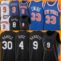 "9 RJ Barrett Julius 30 Randle Basketbol Jersey Derrick Kemba Rose Walker Formalar Gerileme Patrick 33 Ewing City ""Edition"" New York ""Knicks"" Jersey"