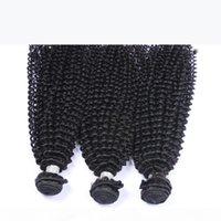 Indian Kinky Curly Virgem Humano Cabelo Humano Weave Pacotes Não Transformados Indian Virgin Remy Remy Curly Hair Extensões 3 pcs Natural preto macio completo