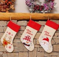 Burlap Natale stoccaggio Santa Claus Snowman Reindeer Regalo Bag Socks Decorazione natale all'ingrosso BWF10729