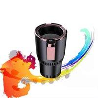 2-in-1 الذكية التبريد التدفئة سيارة كأس القهوة الكهربائية حليب دفئا برودة المشروبات القدح مع عرض درجة الحرارة لمدة 12 فولت 24 فولت 220 فولت