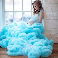 Customise Maternity Dress Robes for Photo Shoot or baby shower Tulle Chic Women Prom Gowns Plus Size Long Sleeve Photography Robe