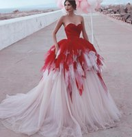 2021 New Said Mhamad Wedding Dresses Beach Pleats mixed Color White Red A-line Wedding Dress Boho Bridal Gowns Middle East Dubai