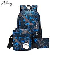 Zaino Aelicy 3pcs impermeabile Oxford Tessuto Boys Boaks Borse per ragazzi per adolescenti Caso di matita Blu Sacchetto del libro Boy Boy Schoolbag