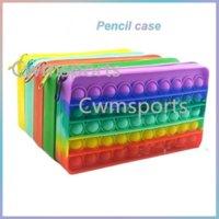 US STOCK Fidget Toys Pencil Case Colorful Push Bubble Sensory Squishy Stress Reliever Autism Needs Anti-stress Rainbow Adult Toy For Children School