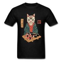 CCCCSPORTEKO KIMONO SAKURA CAT Sushi O cou T-shirts T-shirts Samurai Chat Drôle Amour Day Haute Qualité Coton Design T-shirt Homme Vêtements homme