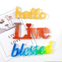 Molde de silicona Hello Love Live Beated Epoxy Resina Moldes de resina DIY adornos para la oficina de la boda de la oficina del hogar GGA4375