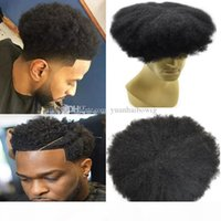 Mens Hairpieces Afro Curl Human Hair Full Lace Toupee Jet Bl...