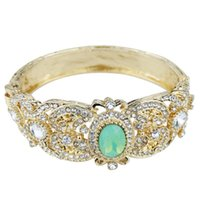 Bangle Sunspicems Gold Color Algeria Morocco Bracelet Mint Green Crystal Women Wedding Jewelry Dubai Imitation Bijoux Love Gift