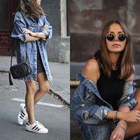 2020 Hot Fashion Women's Button Hole Patch Denim Pocket Loose Ripped Jeans Long Jacket Coat Outwear Streetwear1