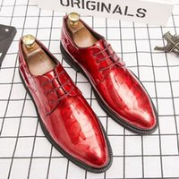 Fashion Printed Men PU Leather Business Dress Shoes Low Heel Lace Up Pointed Stylist Wedding Bridegroom Versatile DH108