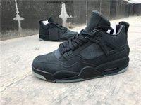 En İyi Kalite Yeni Jumpman 4 Kaws Adam Basketbol Ayakkabı Siyah Buzlu Deerskin Moda Sneakers ile Kutusu