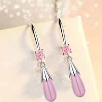 Sweet Cute 925 Sterling Silver Fashion Temperament Senior Opal Water Drop Earring For Women Girl Jewelry Gift 5Y1094 Dangle & Chandelier