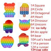 Rainbow Bubble Fidget Sensory Pop Toy Autism Autism Special Needs Stress Reliever Giocattoli Adulti Bambini adulti Antistress divertente con borse opp