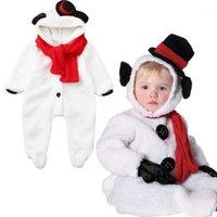 Conjuntos de roupas 0-24m nascido bebê boneco de neve cosplay trajes toddler meninos meninas de natal lã quente outwear inverno manga longa macacão romper1