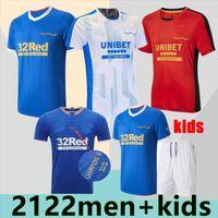 2021 Rangers 150th Anniversary Soccer Jerseys Glasgow 2022 التدريب قمزة سترة أبطال 55 ديفو هاجي باركر موريلوس خاص 20 21 22 كرة القدم قميص الرجال + أطفال كيت
