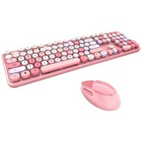 Keyboard Mouse Combos Sweet Mixed Color Cute Portable 2.4Ghz Wireless Set Girl Universal Desktop Notebook Office And